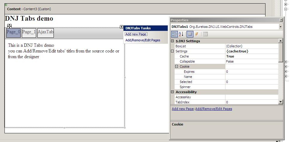 DNJTabs : web control pour créer des onglets